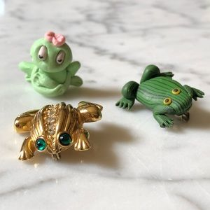 Bundle of 3 Frog Brooches